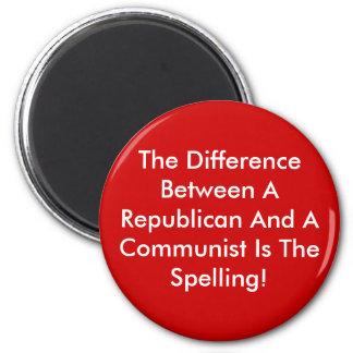 Diferencia entre un republicano y un comunista imán redondo 5 cm