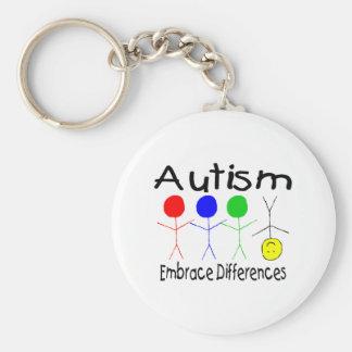 Diferencias del abrazo del autismo (gente) llavero redondo tipo pin