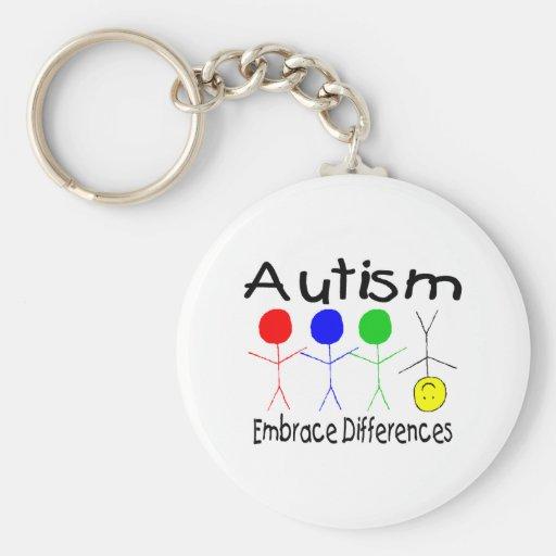 Diferencias del abrazo del autismo (gente) llaveros