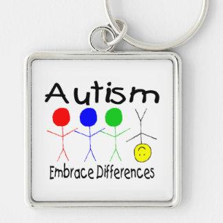 Diferencias del abrazo del autismo (gente) llavero cuadrado plateado