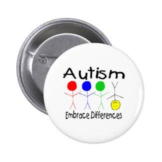 Diferencias del abrazo del autismo (gente) pin redondo 5 cm