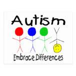 Diferencias del abrazo del autismo (gente) postal
