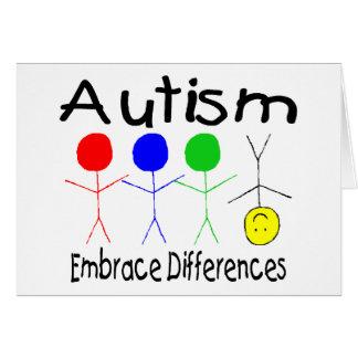 Diferencias del abrazo del autismo (gente) tarjeta de felicitación