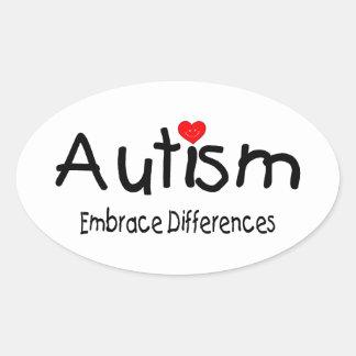Diferencias del abrazo del autismo pegatina ovalada