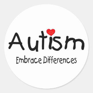 Diferencias del abrazo del autismo pegatina redonda