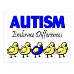 Diferencias del abrazo del autismo tarjetas postales