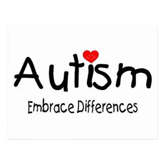 Diferencias del abrazo del autismo tarjeta postal
