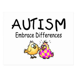 Diferencias del abrazo del autismo postales