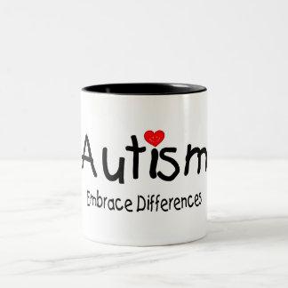 Diferencias del abrazo del autismo taza dos tonos