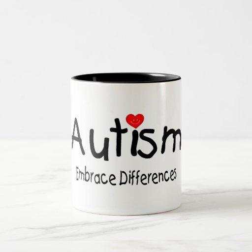 Diferencias del abrazo del autismo taza