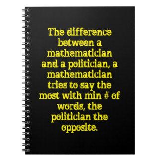Diff entre un matemático y un político ..... libros de apuntes
