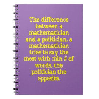 Diff entre un matemático y un político ..... spiral notebooks