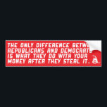 "Difference between republicans and democrats. bumper sticker<br><div class=""desc"">The only difference between republicans and democrats is what they do with your money after they steal it.</div>"