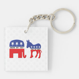 Difference Between Republicans and Democrats Funny Keychain