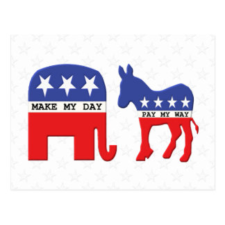 Difference Between Republicans and Democrats Funny Postcard