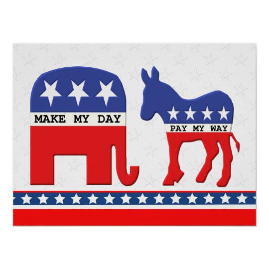 Difference Between Republicans and Democrats Funny Poster