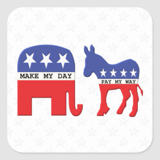 Difference Between Republicans and Democrats Funny Square Stickers