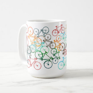different color bicycles on a white coffee mug