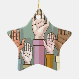 Different color hands lifted up ceramic ornament