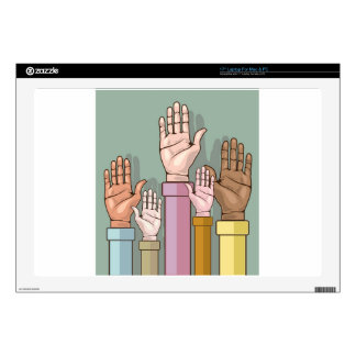 Different color hands lifted up decal for laptop