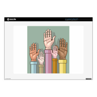 Different color hands lifted up skin for laptop