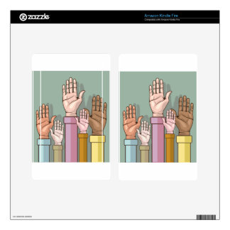 Different color hands lifted up skins for kindle fire