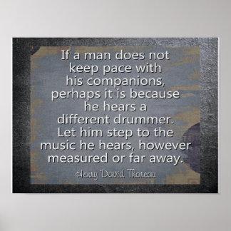 Different Drummer --- Thoreau Quote - Art Print