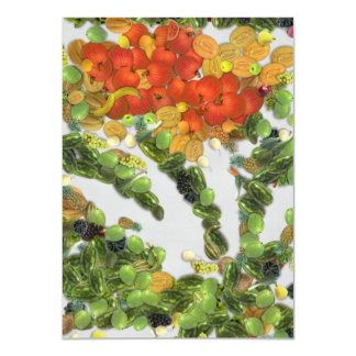 Different fruits and vegetables 4.5x6.25 paper invitation card