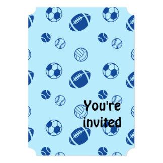 Different game balls pattern 5x7 paper invitation card