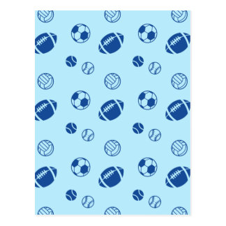 Different game balls pattern postcard