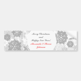 different gray snowflakes on white bumper sticker