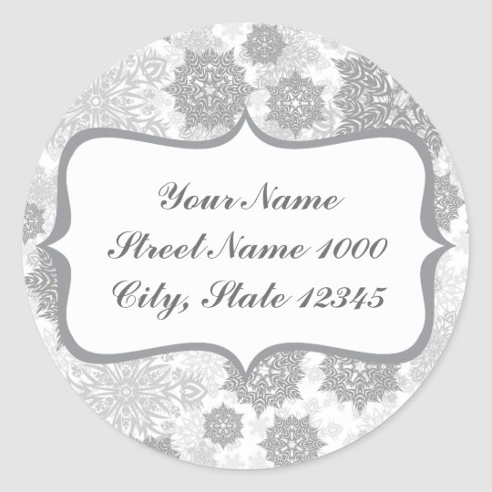 different gray snowflakes on white classic round sticker