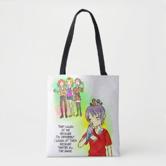 Different is awesome tote bag