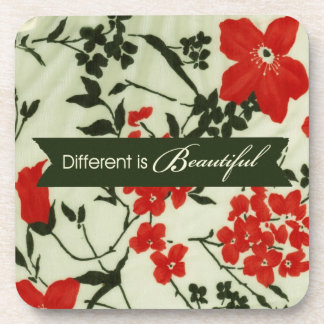 Different is beautiful vintage floral beverage coaster
