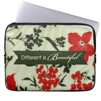 Different is beautiful vintage floral laptop sleeve