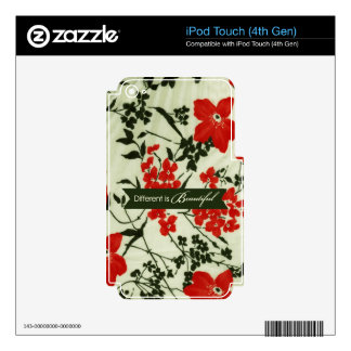 Different is beautiful vintage floral decal for iPod touch 4G
