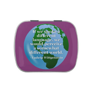 Different language different world Quote. Globe Candy Tin