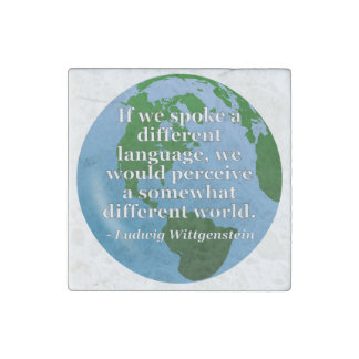 Different language different world Quote. Globe Stone Magnet