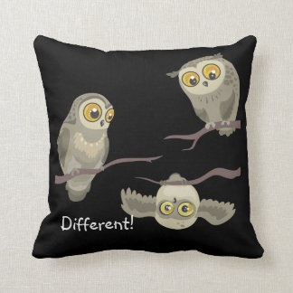 Different! little upsidedown owl~ throw pillow