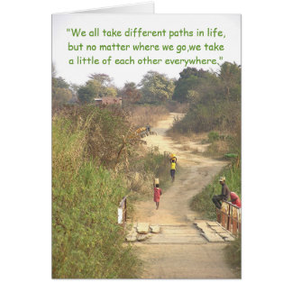 """Different Paths""/People Walking Winding Dirt Path Greeting Card"