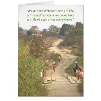 """Different Paths""/People Walking Winding Dirt Path Card"