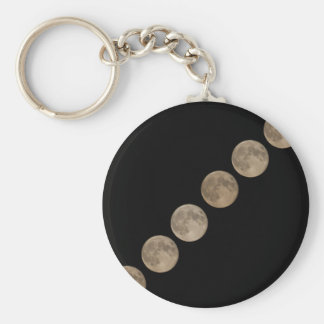 Different phases of rising full moon keychain