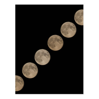 Different phases of rising full moon postcard