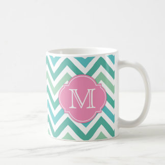 Different Shades of Green Chevron with Mongram Coffee Mug