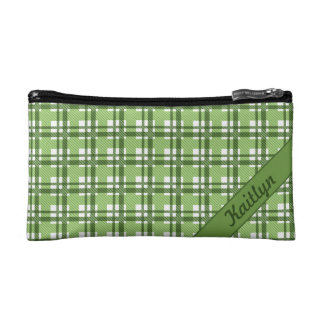 Different shades of green tartan pattern cosmetic bag