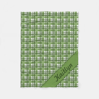 Different shades of green tartan pattern fleece blanket