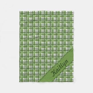 Different shades of green tartan pattern fleece blanket