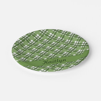 Different shades of green tartan pattern paper plate