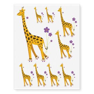 Different Sizes Cute Cartoon Skating Giraffe Temporary Tattoos