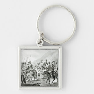 Different Tribes of Russian Cossacks Silver-Colored Square Keychain